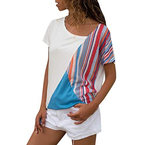 Dorical Blusa para Mujer Moda Casual Empalme Manga Corta Remiendo De La  Raya Flojo Cómodo Ajuste eeeb530c6f6d