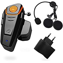 1000m Bluetooth Headset Interphone Moto Bluetooth Universal Waterproof Headphone Interphone pour 2 ou 3 Pilotes et Audio pour Walkie Talkie GPS MP3 Player,Mains Libres et Radio FM (1 pièces)
