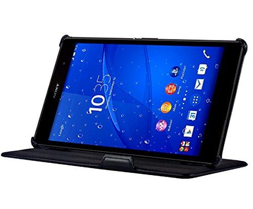 PREMYO Sony Xperia Z3 Tablet Compact Schutzhülle in Schwarz. Xperia Z3 Tablet Compact Hülle mit Standfunktion. Z3 Tablet Compact Tasche für einen eleganten Schutz