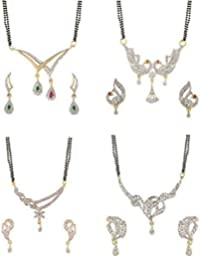 YouBella Latest Traditional Jewellery Gold Plated Mangalsutra for Women (White)(MSC_406A)