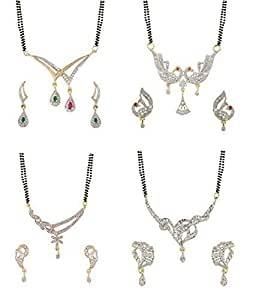 Buy youbella womens pride collection combo of four designer buy youbella womens pride collection combo of four designer american diamond mangalsutra online at low prices in india amazon jewellery store amazon aloadofball Gallery