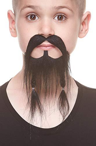 ende Kleiner Geflochten Pirate Fälschen Bart und Fälschen Schnurrbart für Kinder Schwarz Farbe ()