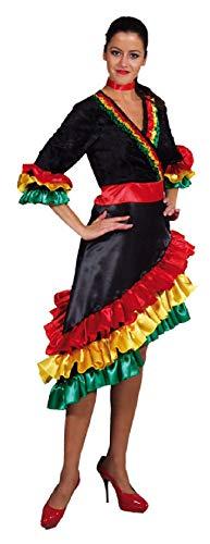 Tänzerin Samba Kostüm - M208136-S schwarz-bunt Damen Samba Kleid Falamenco Kostüm Gr.S
