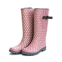 The Wide Welly Company Adjustable Calf Ladies Wellies (max 52cm), Dusty Pink with Bee & Polka Dot Design UK 4-10