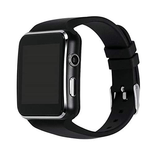 J.W. Bluetooth Smart Watch, Sportuhr für iPhone Android Telefon mit Kamera FM Support Whatsapp SIM-Karte Armbanduhr, schwarz,Black