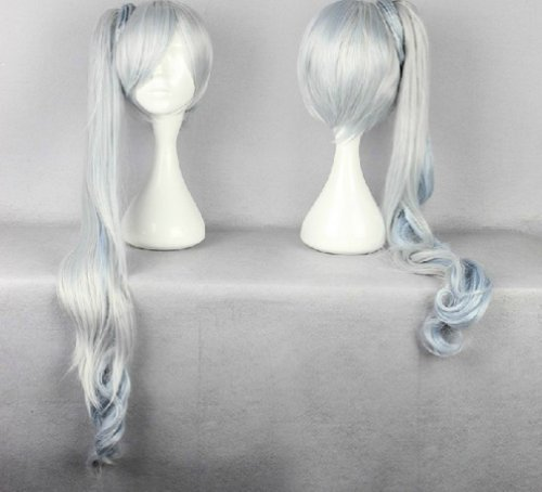 COSPLAZA Cosplay Wigs Kostueme Peruecke lang gelockt Weiss Schnee White Blau 90cm Fasching Karneval (Schnee Weiss Kostüm Cosplay)