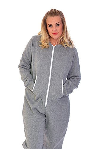 Unisex Hooded Zip Onesie Silver 4XL