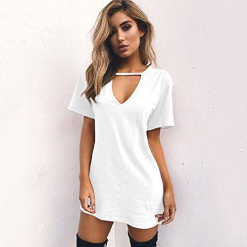 LnLyin Damen Reine Farbe V Ausschnitt Hohlen Lose Kurzärmelige T Shirt Kleid Weiß S (Abenteuer Weiße T-shirt)