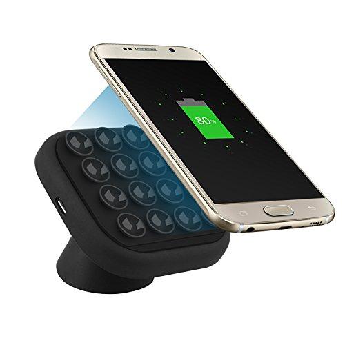 Cargador Inalámbrico para Coche,ZXK CO 2 en 1 Cargador para Coche Inalámbrico Soporte de Móvil Giratorio de 360 Grados para el Parabrisas Smartphone Qi cargador compatible con Samsung Galaxy S7/S7 edge/S6/S6 edge/S6 edge+ /Note5, Google Nexus 7/6/5/4, Nokia Lumina, HTC, SONY Xperia y otro Qi Dispositivos Habilitados