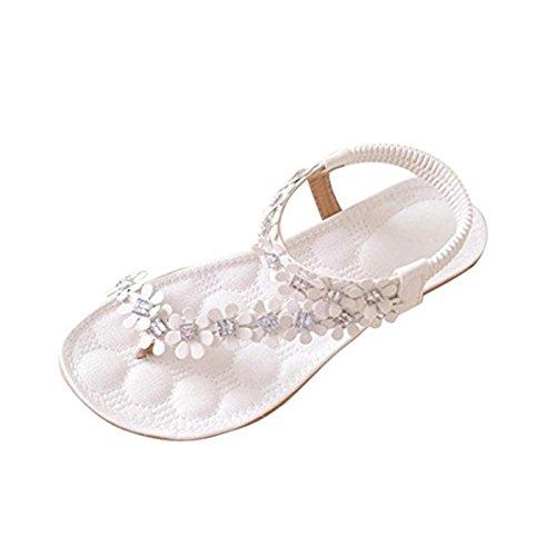 Beautyjourney infradito donna eleganti con strass mare sandali gioiello donna sandali donna bassi sandali donna con zeppa - donne estate boemia fiore perline scarpe sandali flat (38, bianca)