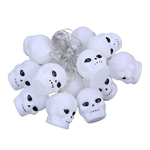 (elecfan Halloween-Lichterkette Totenkopf Köpfe Lichterkette 16 LEDs Halloween Kürbis für Kinder Festival Halloween Weihnachten Dekoration)