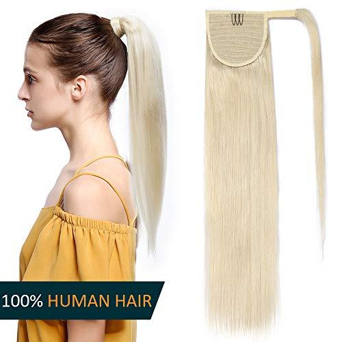 Coda di cavallo extension capelli veri 40cm clip in ponytail fascia unica 80g 100% remy human hair lisci umani naturali #60 biondo platino