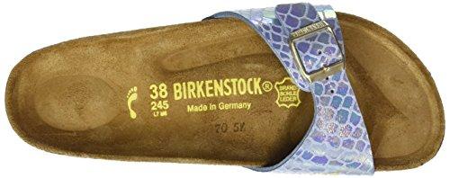Birkenstock Madrid Birko-Flor, Mules femme Bleu (Shiny Snake Sky)