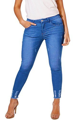 SS7 Damen Stretch schmal Knöchel Jeans, blau, Übergrößen 16 to 26 Denim Blau