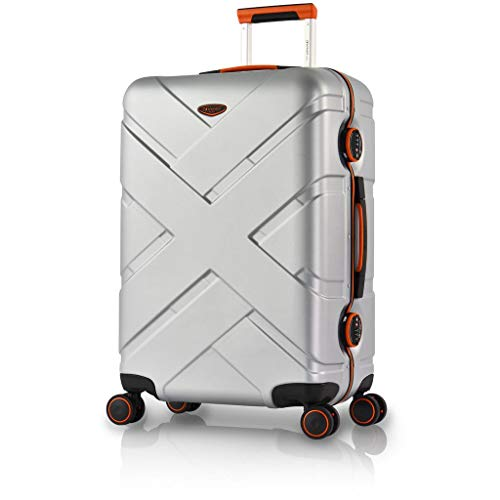Eminent Koffer Gold Crossover 67 cm 66 L Aluminiumrahmen 4 Leise Doppelrollen TSA Schloss Silber/Orange