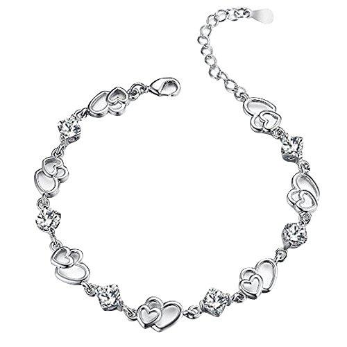 Contever® Elegante Forma di Cuore di Donne Bracciali Dual e Argento Bracciale Gioielli Braccialetti