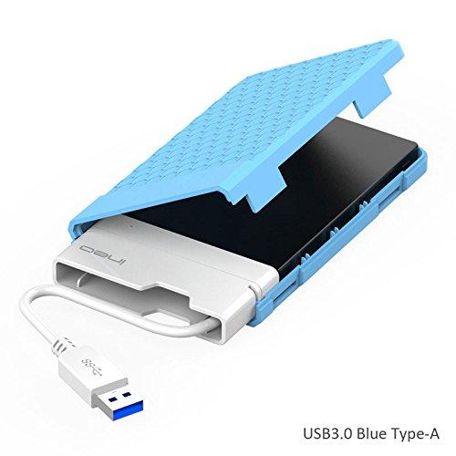 USB 3.0 Case Esterno per Disco Rigido 2.5' – ElecGear 2.5 pollici SATA SSD e HDD Hard Drive Enclosure Custodia, ottimizzato per SSD, supporta UASP, senza attrezzi, Tipo A cavo integrato