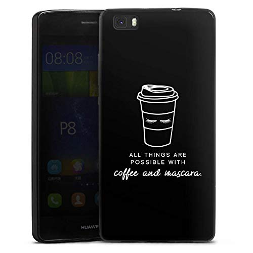 DeinDesign Slim Case Silikon Hülle Ultra Dünn Schutzhülle für Huawei P8 lite (2015-2016) Mascara Kaffee Spruch