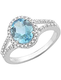 Pave Prive 9ct White Gold with Oval Blue Topaz and White Diamonds Oval Ring