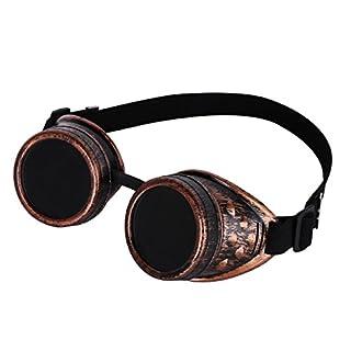 Agoky Steampunk Brille Sonnenbrille Retro Vintage Partybrille rund Rave Kostümzubehör Musikfestival Punk Cyber Gothic Stil für Unisex Damen und Herren Kupfer One Size