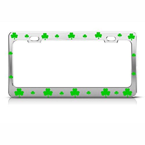 Irish Chrome License Plate Frame (Kleeblatt Lucky Irish Chrome Heavy Duty Metal Irish Kennzeichenrahmen Perfekt für Männer Frauen Auto Garadge Decor)