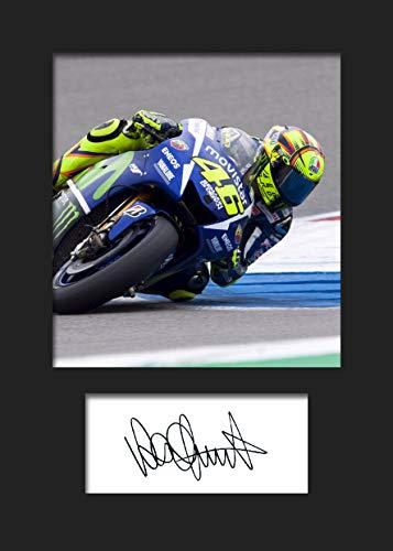 Valentino Rossi #1   Signierter Fotodruck   A5 Größe passend für 6x8 Zoll Rahmen   Maschinenschnitt   Fotoanzeige   Geschenk Sammlerstück