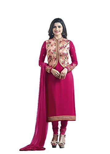 Designer Desk Crepe Silk Deep Pink color Party wear Salwar Suit With...