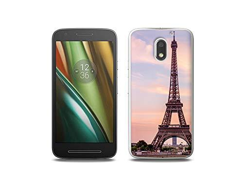 etuo Lenovo Moto E3 - Hülle, Silikon, Gummi Schutzhülle - Eiffelturm in Paris