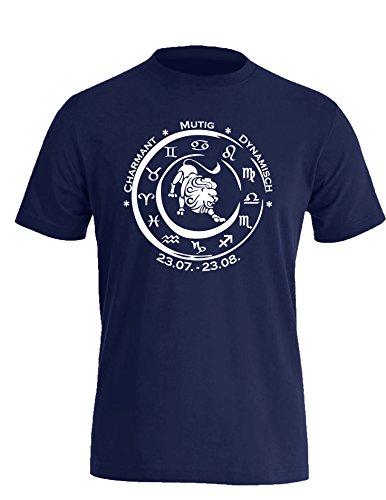 Sternzeichen Löwe - Astrologie - Herren Rundhals T-Shirt Navy/Weiss