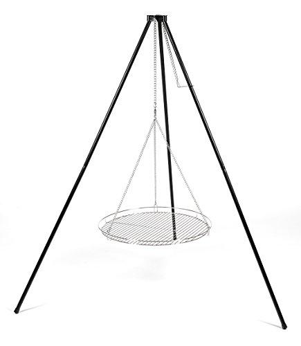 Supporto per grill, girevole, a tre gambe, orientabile,senza griglia, in colore argento