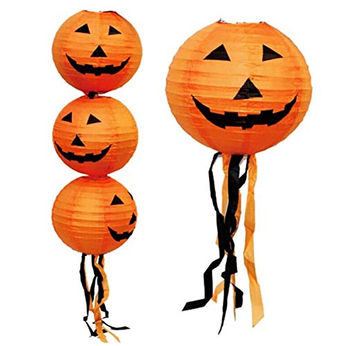(LHJ Halloween Dekoration Kürbis Papier Laterne Szene Liefert Requisiten,Pumpkincolor,30Cm)