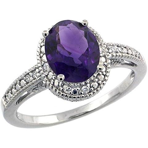 Revoni-Bracciale in argento Sterling, ametista, forma ovale, stile Vintage-0,063 kt con diamanti taglio brillante ct & 1,25, 6 x 8 mm), con pietre a taglio ovale, misure disponibili da J a