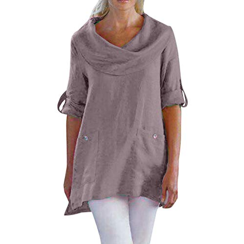 XNBZW Tops Women Long Sleeve Blouse Round Neck Shirt Sweatshirt Tunic Jumper Tops Pullover Casual Cotton Tops Tee T Shirt Vintage Plus Size Solid Button Loose Blouse - Mens Crew Neck Thermal