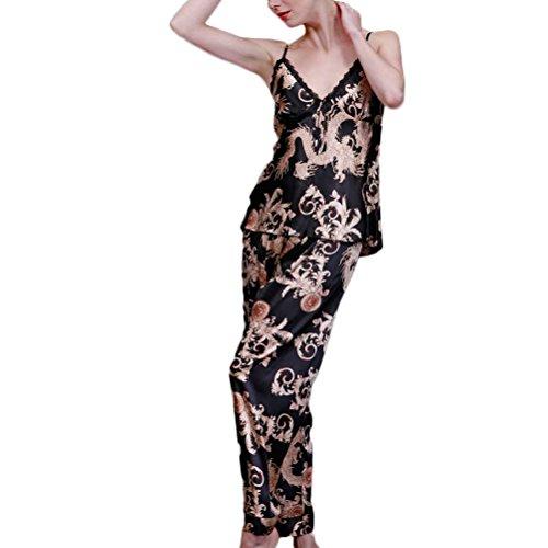 Nanxson(TM) Pyjama Vêtement De Nuit Soie Dragons Imprimé 3 Pièces Pour Femmes SYW0027 Noir