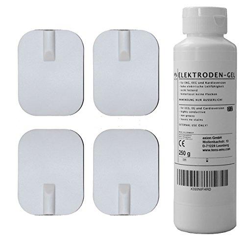 Electrodos pequeños caucho y gel - Parches reutilizables conexión de clavija universal 2mm - (45x60mm) - Almohadillas calidad axion