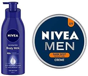 NIVEA Nourishing Lotion Body Milk With Deep Moisture Serum And 2x Almond Oil for Very Dry Skin, 400ml And NIVEA Men Creme, Dark Spot Reduction Cream, 150ml