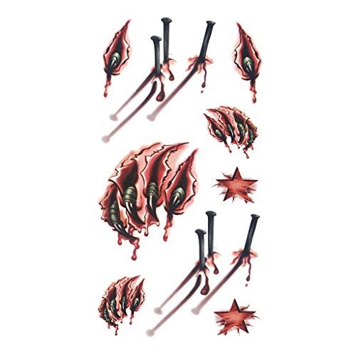 Kostüm Zombie Asiatische - Allegorly Halloween Einmal Tattoo Wunden Nähte Narben Verletzung Kratzer Scars Karneval Aufkleber Karneval Zombie Temporary 3D Temporäre Horror Sticker