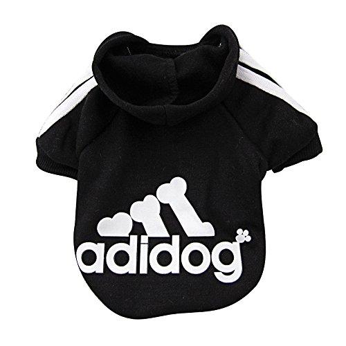 DULEE adidog Hund Warme Hoodies Mantel Jumpsuit Haustier Kleidung Jacke Pullover Baumwolle Pullover Outwear Schwarz XXL