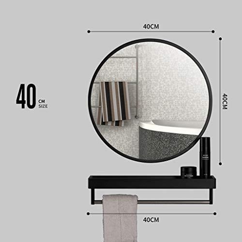 LJP Espejo Redondo Moderno 80cm Diámetro Nórdico Moderno Stick On Mirror Plateado para Cualquier Cuarto...
