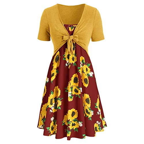 OIKAY Damen Kleid Kurzarm Blumenkleider Mode Bogen Knoten Bandage Top Sunflower Print Mini Dress Suits (Dirty Dancing Kostüm 80er Jahre Kostüm)