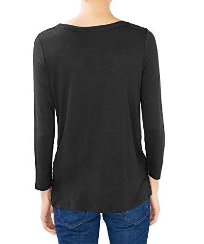 edc by Esprit 096cc1k028, T-Shirt Femme Noir (Black 001)