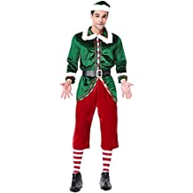 922b96a8b827b Homelex Noël Costume Elfe mâle Complet Adulte Costume Velours vêtements  féminins