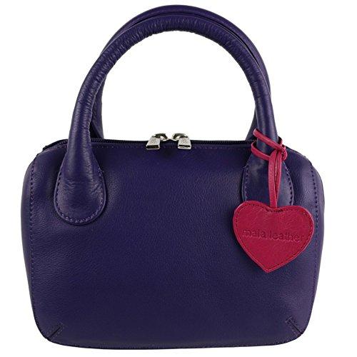 Mala Leather, Borsa a mano donna Rosso nero viola