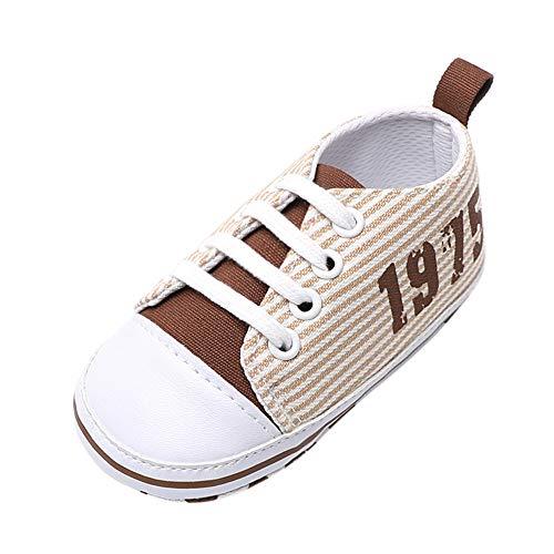 Kleinkind Schuhe feiXIANG weiche Schuhe Rutschfeste Krippe Schuhe Streifen Sneaker (Beige,13)