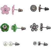 Lux accessori rosa floreale con disco più orecchini con perla di Faux