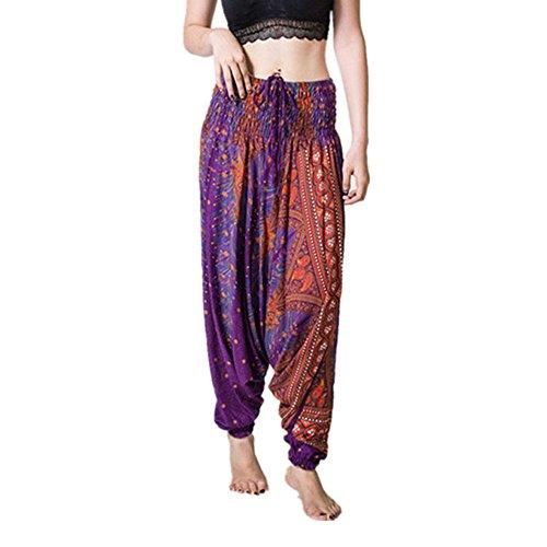 Sunenjoy Femme Yoga Pantalon Taille Haute Hippy Smock Fluide Culotte Bouffant Elastique Yoga Aladin Harem Bohême Imprimé Pantalon Combinaisons Sarouel Mode Casual Loose Été (Taille Libre, Violet 2)