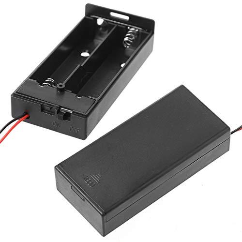 ZOUCY 3,7 V 2X 18650 Batteriehalter Box Aufbewahrungskoffer Container mit Kabel ON/Off-Schalter -