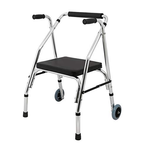 CIDX Walker Aluminium Rollator Walker 2 In 1 Leicht Höhenverstellbarer Rollator Stuhl Senioren Walker Rehabilitation Warenkorb Gehhilfe Laufband 2 Rad (Color : Silver) -