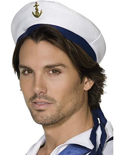 Halloweenia - Kostüm Accessoires Zubehör Herren Matrosen Mütze mit blauem Band und Anker, perfekt für Karneval, Fasching und Fastnacht, Weiß (Auf Hoher See Kapitän Kostüm)