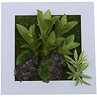 NEW style 3D Support mural Fleurs Artificielles Vieilles quatre feuilles plantes succulente Cadre en bois imitation Vase décoration de mariage de Salon, 15x 15cm